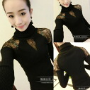 Turtleneck Chateau race switch tops women's long sleeve Black Black ribbed, high-necked slim tight fit: order today will ship 6/5