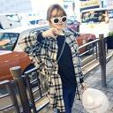 Shatsbrowstops long-sleeved long-length tunic coat loose check pattern women's casual, natural ◎ order today will ship 3/3