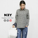 Gingham check shirt women's long sleeve blouse casual button pattern down check basic check shirt simple ◎ order today will ship 2/17