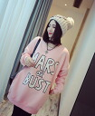 Loose ladies logo crew neck sweatshirts tunic dress long sleeve trainer tips long pink grey beige ◎ order today will ship 8/19