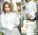 Long sleeve blouse women's shirts sewn plain fringe design Bellerive Office white white adult classy ◎ order today will ship 5/28
