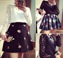 Sleeves switching trainers sweatshirts women's race Combi switch dot polka dot Long Sleeve Tops flower lace feminine ◎ order today will ship 4/3