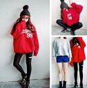Loose long sleeve trainer tops sweatshirts women's vintage logo casual relaxed white red black • order today will ship 6/12