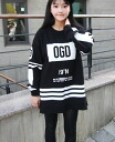 Long sleeve trainer tips tunic sweatshirts women's logo Mono into tone side zipper crew neck casual ◎ order today will ship 3/5