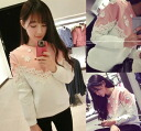 Cute bicolortrainertops women's lace and flowers motif pink pullover sweatshirts casual girly ◎ order today will ship 3/5