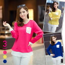 Long sleeve chiffon blouse top s pullover Womens crew neck epaulettes with bicolor color adult casual pink yellow blue ◎ order today will ship 4/1