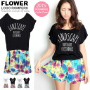 All-in-one ladies rompers combinaison Setup tethering shorts floral logo print salopette tops short sleeve resort ◎ order today will ship 3/13