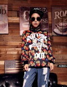 Trainer women's long sleeve pattern print sweatshirts Romare room wearing casual crewneck round neck tops: order today will ship 3/5