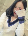 Knit Womens V neck long sleeve sweater with line-cable knit medium length Cute Girly casual school tops ◎ order today will ship 4/3