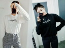Blouse long sleeves women's ruffle high neck cut and sewn t-shirt logo print simple casual inner tops: order today will ship 3/9