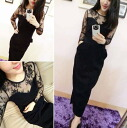 Sheer long sleeve Maxi dress long one piece see-through lace toggle women's adult Black feeling SEXY party ◎ order today will ship 3/18
