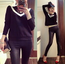 Long sleeve trainer tips Tilden knitted wind racing women's autumn-winter Black Black adult casual sexy SEXY ◎ order today will ship 5/7