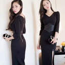 Long sleeve one piece ladies Maxi winter slit corset tight sexy SEXY different material changeover • order today will ship 5/28