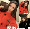 Trainer long sleeve women's crew neck star pattern star pattern fluffy sweatshirts Romare room wearing tops casual relaxed ◎ today ordered will ship 8/19
