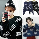 Long-sleeved trainer loose loose big silhouette's rice logo print unisex sweat tops English casual frill short-length unisex ◎ order today 8/17 will ship