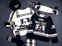 Trainer long sleeve ladies sailor collar unisex logo print letters unisex monotone black and white sweat tops casual sporty ◎ order today will ship 4/10