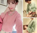 Brushed sewn autumn-winter pastels Pere feminine girly long sleeve women's crew neck tops trainers cute ◎ order today 4/8 will ship