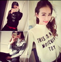 Knit ladies sweater long sleeve bottleneck Turtleneck letters logo tops cute casual pullover ◎ order today will ship 5/28
