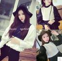 Fakereyjardtops knit × blouse long sleeves black Bishop sleeve layering style batoumusume women's feminine elegant girly ◎ order today will ship 6/4