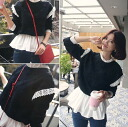 Pretty peplum tops women's knit switching different material dock length sleeves frilly shirt layered wind feminine girly adult romantic ◎ order today will ship 6/26