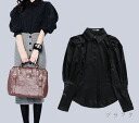 Clean long sleeved blouse tops women's balloon sleeve power shoulder formal order adult Black Black ◎ order today will ship 4/3