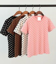 T shirt Womens short sleeve polka dot dot pattern simple tops casual print round neck cut and sewn color T shirt basic ◎ order today will ship 3/30