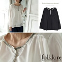 Refreshing embroidered long-sleeved blouse tops women's pullover crew neck cotton cotton sheer adult simple loose Black Black ivory ◎ order today will ship 5/12