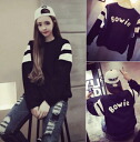 Long-sleeved trainer crewneck sweat tops logos selenge celebrity neck casual simple monotone ◎ order today will ship 6/1