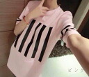 T shirt short sleeve women's shirt tops print line with simple casual medium length selenge Celebrity Sports Romare gown ◎ order today will ship 4/9
