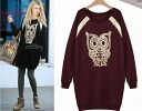 Trainer long sleeve crew neck sweat tops OWL animal print fringe loose long-length one-piece style: order today 7/3 will ship