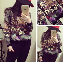 Long-sleeved trainer crew neck sweat tops selenge celebrity neck casual animal face print pattern: order today will ship 8/17