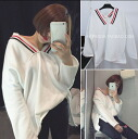 Trainer women's long sleeve sweat trainer women's long sleeve sweat line with V belted loose casual loose tunic BIG silet tops relaxed casual loose tunic BIG silhouette ◎ order today will ship 5/28