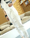 Overalls Womens white denim white crash hole perforated tethering work suspenders salopette ◎ order today 8/6 will ship