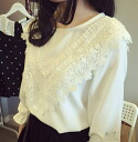 Neat and cute long sleeve blouse tops women's lace white crew neck pullover feminine adult natural girly ◎ order today will ship 6/8