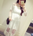 Sheer high neck ruffled feminine lace long sleeves Maxi dress long one piece ladies spring feeling of browsing party second party ◎ order today will ship 5/21