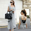 Open back so-called silet Maxi-length dress long sleeveless resort spring summer browsing body cover: order today will ship 5/11