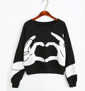 Bicolor color ladies long sleeve sweat tops simple relaxed casual every monotone black and white long-sleeved trainer: order today will ship 6/12
