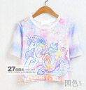 Print T shirt Womens short sleeve short sleeve U neck crew neck adult casual cute cute Unicorn Pastel pink ◎ order today will ship 6/2