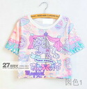 Print T shirt ladies short sleeve sleeve U neck crew neck adult casual pastel Princess wind General fairy tale • order today will ship 8/19
