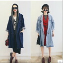 Denim long denim Jacket Women's spring summer long-sleeved denim long coat tailored clothing denim simple loose 2 color ◎ today orders will ship 5/13