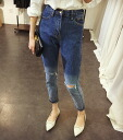 Tapered denim slim jeans ladies bottoms gradient damage process crashing high-waisted rise deepened ◎ order today will ship 5/21