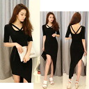 Short sleeve Maxi dress long one piece party dress Womens adult black wedding parties asymmetric SEXY sexy ◎ order today will ship 5/26