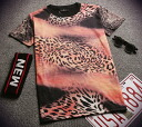 Funny printed T shirts white ladies ' short-sleeved adult casual U neck tops outdoor long loose so-called celebrity Leopard animal ◎ order today 5/28 shipment plan