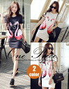 Cute short sleeve titewanpeacemini short one piece women's spring summer adult crewneck Flamingo print casual ◎ order today will ship 8/6