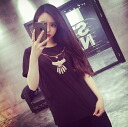 Funny printed T shirts white ladies ' short-sleeved adult casual U neck tops outdoors monotone black necklace style print ◎ order today 5/27 shipment plan