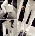 White Denim pants jeans Womens bottoms damage process crash white slim skinny adult summer casual ◎ order today will ship 5/28