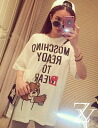 A loose T shirt short sleeve women's shirt tops logo print round collar crewneck casual selenge Romare ◎ order today will ship 6/8
