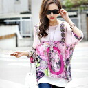 7 sleeve chiffon blouse tunic tops women's spring summer adult colorful Bohemian Dolman sleeve pattern pullover relaxed ◎ today ordered will ship 8/19