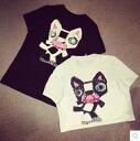 T shirt Womens short sleeve print DOG fashionable clothing crewneck monotone black black white white celeb casual simple ◎ order today 6/17 will ship
