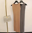 Elegant casual dress sleeveless Maxi-length slim skirt tight pencil simple plain round collar adult 4 color: order today will ship 6/26